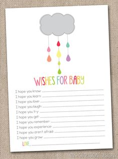 Printable Baby Wishes Card Colorful Shower Cloud Gender Neutral Baby Shower Game Design INSTANT Download