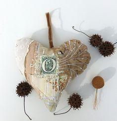 Fiber art large heart ornament, BEIGE HEART III, featured in Sew Somerset winter 2014, fiber collage, monogram, bead embroidery, home decor