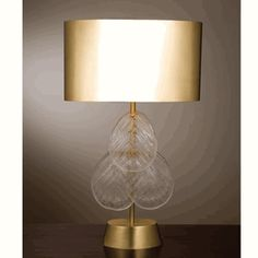 "Limited Production Design: 33"" Tall Murano Glass Brass Table Lamp * Production Ended * Hotel Contract Inquiries Considered"