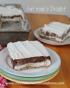 Fat Man's Delight-luscious layers of cheesecake filling, chocolate pudding and cool whip all on top of a pecan crust. Can easily be made low...