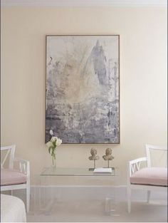 Soft pink gray entrance foyer  yellow ivory cream paint wall colors. Gray abstract art, ...