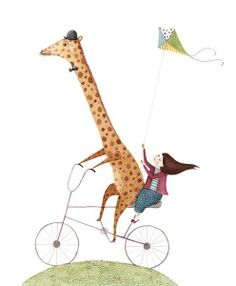 by Amy Adele - professional children's illustrator Giraffe Illustration, Bicycle Illustration, Children's Book Illustration, Adele Child, Giraffe Art, Bicycle Art, Kids Story Books, Beatrix Potter, Illustrations And Posters
