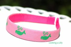 Preppy Headband Pink and Green Whales