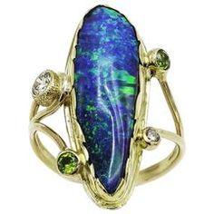 Boulder Opal Garnet Sapphire Gold Ring #opalsaustralia