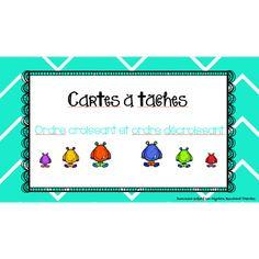 Cartes à tâches - Ordre croissant/décroissant Croissant Décroissant, Accent Aigu, Teacher, Cycle, School, Kids, Math Centers, Calculus, Atelier
