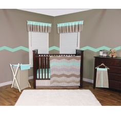 Cocoa Mint Crib Bedding- 3 Piece Set