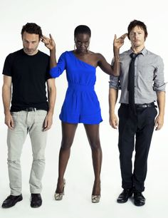 """bethkinneysings: """" Norman Reedus, Andrew Lincoln and Danai Gurira are photographed by Michael Muller during 'San Diego Comic Con' on July 13, 2012 in San Diego, California. """""""