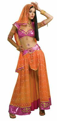 Deep pink lamé crop-top with a pink jewel and gold braid accents. Size Large - fits 38-40 bust, 31-34 waist. matching orange and pink skirt with a fancy waistband and hem. Jewelry, shoes and wig not included. Belly Dance Scarf, Sexy Adult Costumes, Belly Dancing Classes, Bollywood Masala, India Colors, Costume Collection, Belly Dancers, Complete Outfits, How To Make Beads