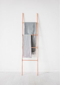 Taller Copper Pipe Ladder for Blankets Towels Retail Display