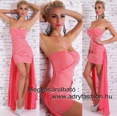 Elől rövidebb hátul hosszabb csavart díszes   elegáns  női ruha