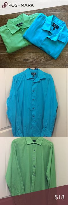 Men's Vibrant Dress Shirt Bundle (2 Pieces) Men's vibrant colored dress shirt bundle. Slim fit. Neck =  16 1/2, Shirts 36/37. The blue shirt is APT. 9 brand, The green shirt is Van Heusen brand. Both pieces are in great preowned condition. Please be sure to check out all my other men's items to bundle and save. Same day or next business day shipping is guaranteed. Reasonable offers will be considered! Bundle Shirts Dress Shirts