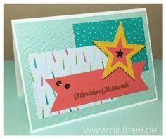 Goldiger Glückwunsch für MtS - Sketch 110, Stampin Up! Hoch hinaus, Bunte Party, Memory Box Stitched Star Layers.