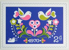 Vintage Style Postage Stamp Postcard - Folk Love Birds