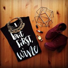 'BUT FIRST, WINE' PRINTED TANK * 95% Rayon, 5% Spandex * Made In USA * 23.5' long * 27' back ▫️NWOT▫️PRICE FIRM▫️NO TRADES▫️NO PPHP Best in Retail 4.4.16 Evette Encounters Tops