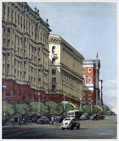 Бернштейн Эммануил Бенционович (Россия, 1914-2003) «Улица Горького» 1953 цв.литография