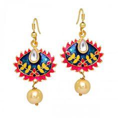 Handmade #Meenakari work Enamel Blue and Raani color Pearl beaded Dangler #Earring for #Girls  @eindiawholesale  #wholesale & #Reselling Please Whatsapp at +91-7339903357