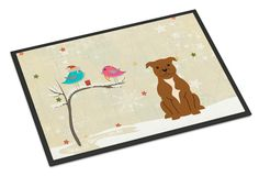 Christmas Presents between Friends Staffordshire Bull Terrier Brown Indoor or Outdoor Mat 18x27 BB2519MAT