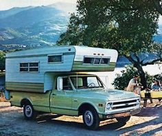 My mom and dad had a truck and camper...way to small for 4 people, would never do that again