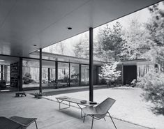 New Canaan, Conecticut, Eliot Noyes Haus - Anbau Architecture Mapping, Architecture Wallpaper, Interior Architecture, Commercial Architecture, Connecticut, Patio Grande, Mid Century Exterior, New Canaan, Courtyard House