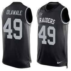 Men's Nike Oakland Raiders #49 Jamize Olawale Limited Black Player Name & Number Tank Top NFL Jersey