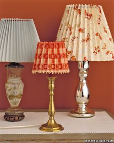 Update an old lamp with a custom-pleated paper shade that fits right over the old one.
