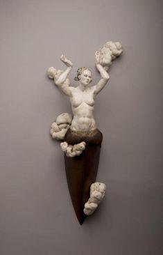 'El Temporal' by Penland, SC-based ceramic sculptor Cristina Córdova. Ceramic, 34 x 11 x 7 in. via Ann Nathan Gallery
