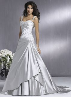 images of wedding silver a-symmetrical gowns | Silver Wedding Dress