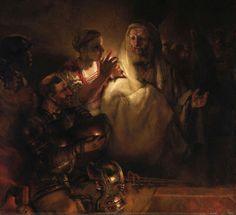 "Rembrandt van Rijn 1606 – 1669 ""The Denial of Peter"" oil on canvas — 1660 Rijksmuseum, Amsterdam Rembrandt Paintings, Francisco Goya, Dutch Golden Age, Dutch Painters, Leiden, Old Master, Christen, Christian Art, Religious Art"