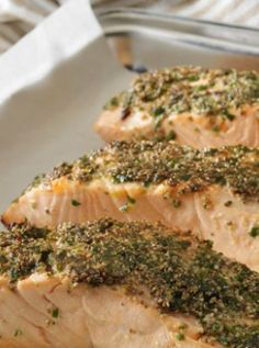 Chia crusted salmon - an easy dish to prepare for friends and family. Adding chia seeds gives a wonderful crunchy crust.