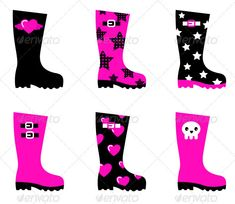 Emo rain boots for young adults isolated on white ...  boots, emo, fashion, female, funky, girl, girly, goth, graphic, heart, illustration, isolate, isolated, love, modern, pink, pop, popular, punk, rain, retro, romance, sadness, sexy, skull, teen, teenage, valentine, valentines
