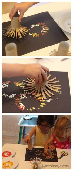 (Crinière lion ou feu artifice) Simple fireworks painting idea for kids using DIY toilet paper roll firework stamp.