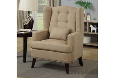Mulan collection stone blended linen fabric upholstered wing back tufted style accent side chair with nail head accents