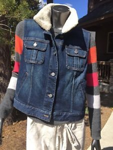 J Jill Stretch Blue Jean Denim Faux Fur Sherpa Removable Collar Vest Stretch M | eBay