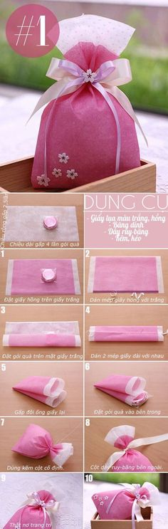 Cute idea for party or wedding favors, even for teacher gifts. Gifts in general. Creative Gift Wrapping, Wrapping Ideas, Creative Gifts, Hobbies And Crafts, Diy And Crafts, Paper Crafts, Homemade Gifts, Diy Gifts, Gift Wraping