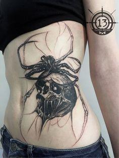 Spider tattoo on stomach graphics by Ivan Gulyaev Dope Tattoos, Pretty Tattoos, Mini Tattoos, Body Art Tattoos, Small Tattoos, Sleeve Tattoos, Tatoos, Piercing Tattoo, Piercings