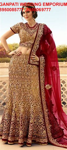 Buy online beige and maroon embroidered, patch border and stone bridal lehenga choli. This bridal lehenga choli is made with exclusive embroidered, patch border and stone. Shop online beautiful bridal lehenga choli now. Lengha Choli Online, Buy Lehenga Online, Ghagra Choli, Silk Lehenga, Sari, Lehenga Blouse, Indian Dresses, Indian Outfits, Indian Bridal Lehenga