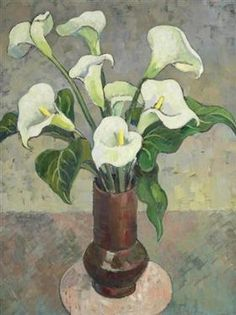 Arum Lilies In A Vase - Gregoire Boonzaier