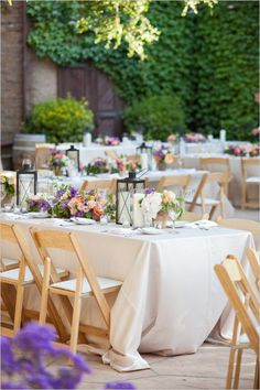 Fits perfectly in a garden themed wedding, especially doing a rectangle table as opposed to rounds. The low centerpieces allow for great visibility and conversation across the table.