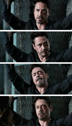 """Tony Stark (Robert Downey Jr.) - captured and zip-tied to an old bed in """"Iron Man 3"""""""