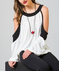 Look at this I'm In Black & White Cutout Top on #zulily today!