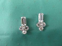 Vintage 1940s PIERCED Rhinestone Earrings by ForgetMeNotVintageTN, $29.50