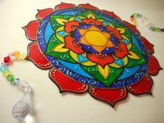 Mandala vitral em PVC 25 cm