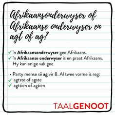 Sê mens ag of sê jy agt? Afrikaans Language, Grammar Games, Afrikaanse Quotes, Teaching Aids, Education Quotes, Success Quotes, Humor, Napoleon Hill, Words