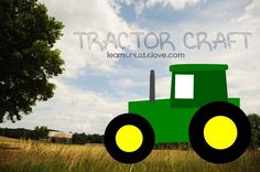 """Printables""- Printable Tractor Craft (PDF is not coloured and tractor is in pieces so that they can easily be cut out, coloured or traced onto construction paper if desired and put together). Use split pin fasteners (otherwise known as brads) and the wheels can turn."