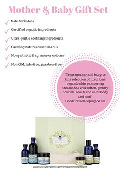 Neal's Yard Remedies Organic  Mother & Baby Gift set contains calming natural essential oils and is GM, talk and paraben free.