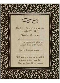 Create a custom reply card for your wedding Invitation Suite, Invitations, Wood Design, Wedding Reception, Card Making, Create, Cards, Marriage Reception, Wedding Receiving Line