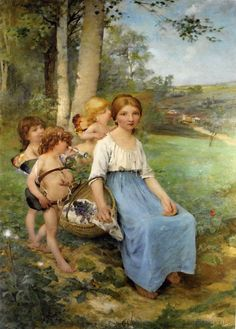"Jules Bastien-Lepage: ""Song of Spring"", Oil on canvas, Dimensions: 148 x 100 cm, Current location: Verdun, Museum of Princerie. Painting Prints, Canvas Prints, Painting Art, Paintings, Pre Raphaelite, Old Master, Art History, Cotton Canvas, Art For Kids"