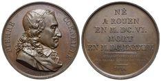 Suitenmedaille 1816 von E. Gatteaux. Auf den frz. Dramatiker Pierre Corneille. Frankreich France, Coins, Personalized Items, Big Men, Old Coins, Rooms, French