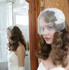 Art Deco  Headpiece Wedding accesory 'Silver Screen by AgnesHart, $325.00