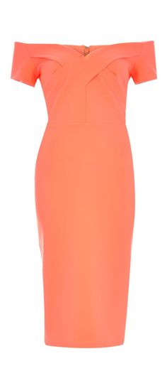 Coral Bardot Pencil Dress